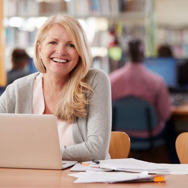 mature woman studying